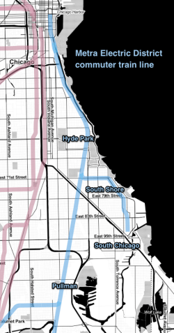 Map of the Metra Electric district line and branches, showing Hyde Park, South Shore, South Chicago, and Pullman neighborhoods.