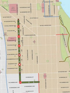 The route of the Glenwood Ave. neighborhood greenway. A contraflow bike lane will allow two-way bike traffic on the otherwise one-way street.