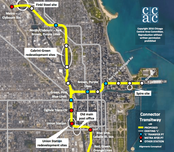 "The Connector Transitway would first be built between Union Station and Streeterville (Columbus/Illinois, the white dot to the right of ""Red Line-Michigan Av"")."
