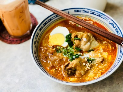 Indian noodle soup with chicken