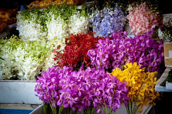 Flower vendors along the river