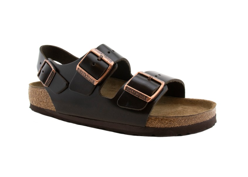 Birkenstock Sandals Milano Brown Amalfi Leather angle profile