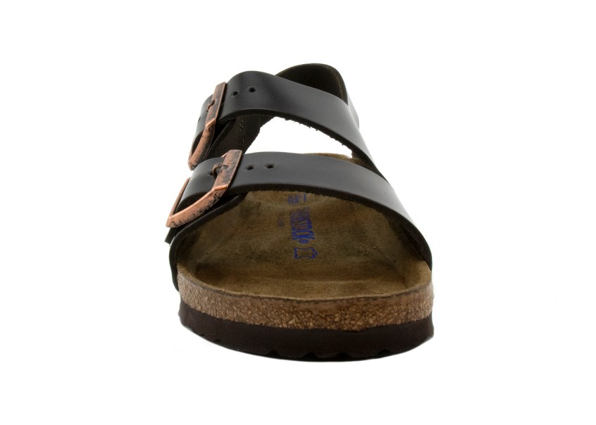 Birkenstock Sandals Milano Brown Amalfi Leather front profile