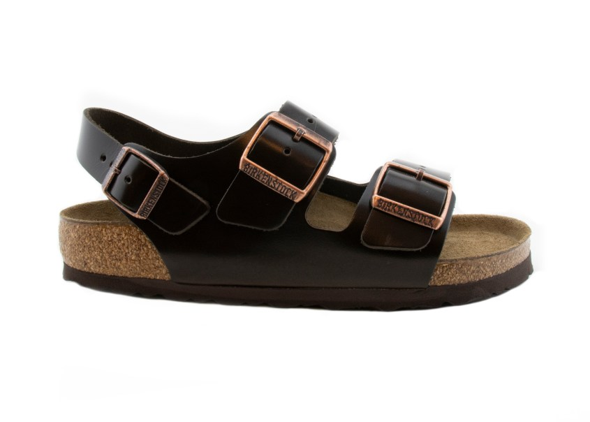Birkenstock Sandals Milano Brown Amalfi Leather right profile