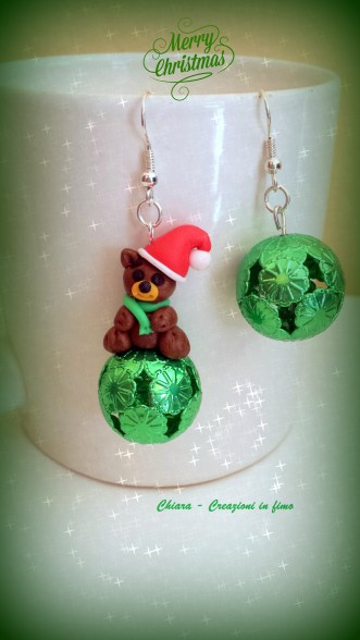 orecchini in fimo orsetto natalizio