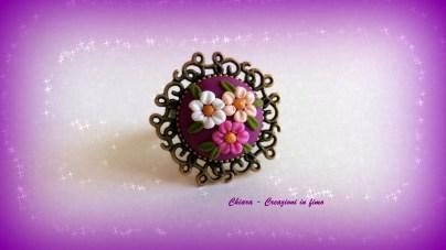 anello in fimo fiori bordeaux