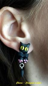 orecchini in fimo gatti neri