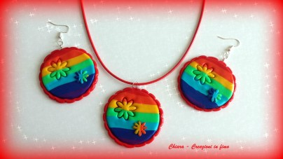 parure in fimo arcobaleno