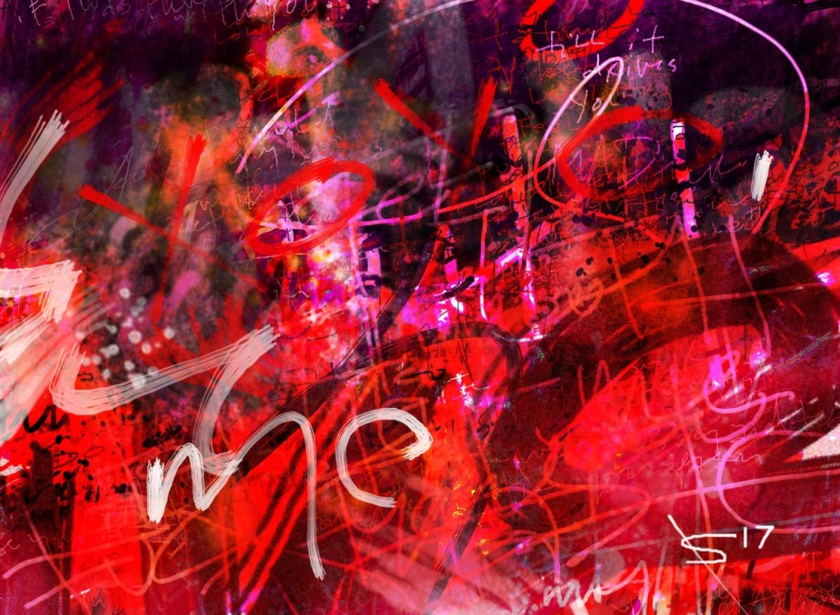 love letter, abstract digital art made from layering text from a love letter