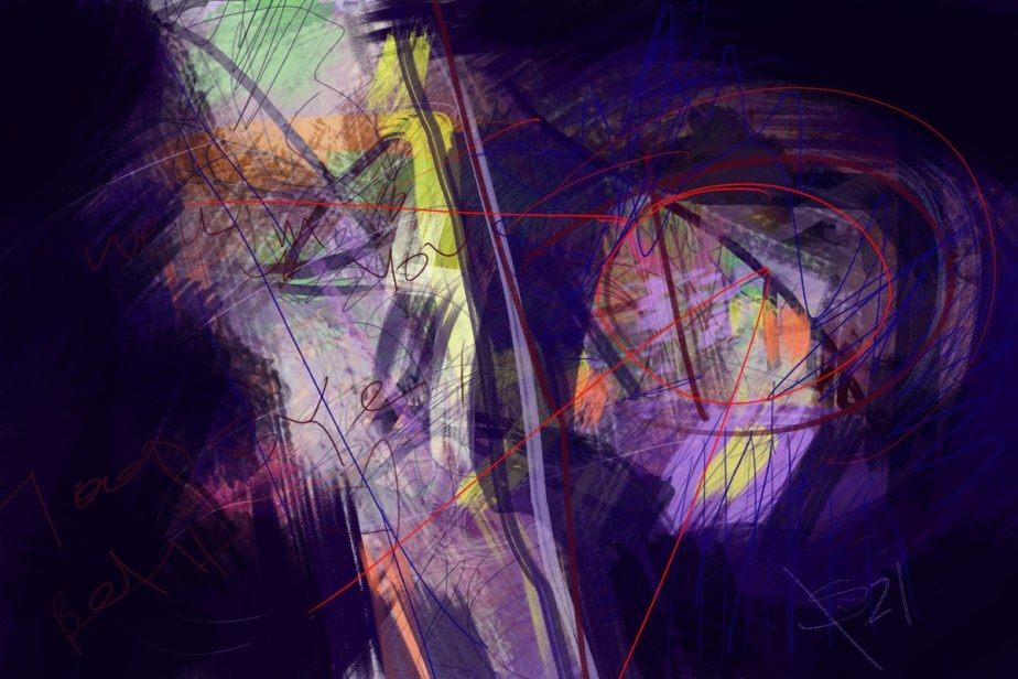 the 5th, abstract digital text art made in Krita