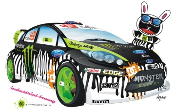 ken block ford fiesta vs industrial bunny