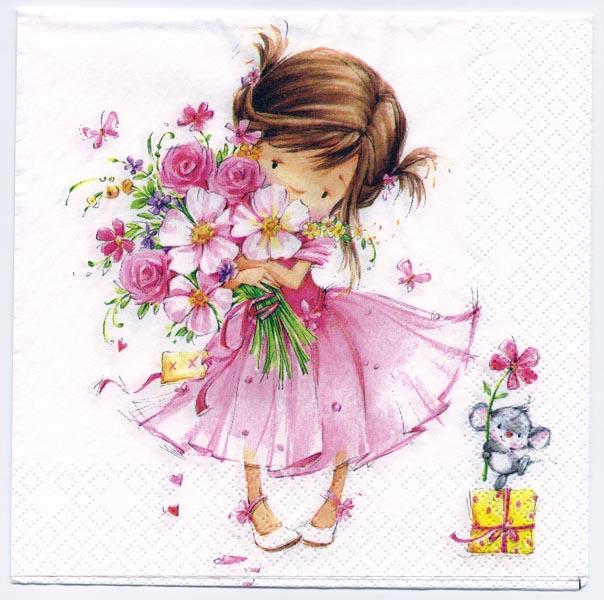 Decoupage Napkins Of Flower Girl