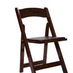 Chair Folding Wood Fruitwood With Black Vinyl Cushion 1