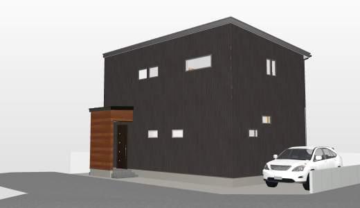 いい家になる気しかしない! スーパーウォール工法 ブラックな家の外観全貌 キッチン周りもいい感じ