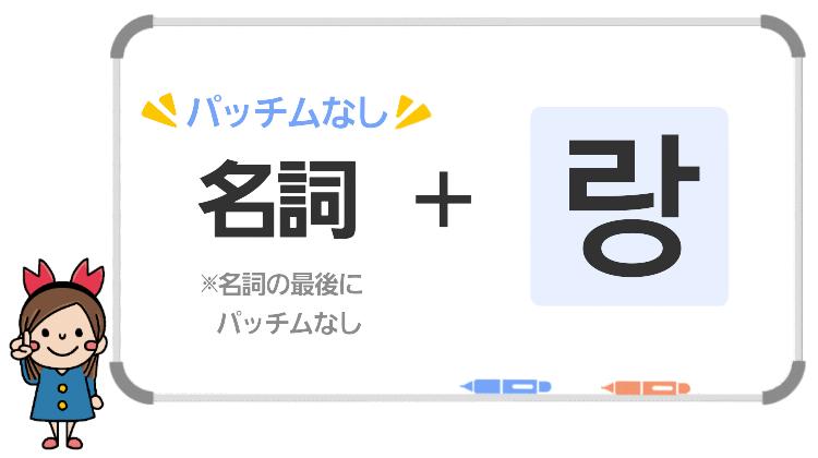 韓国語の「~と」랑