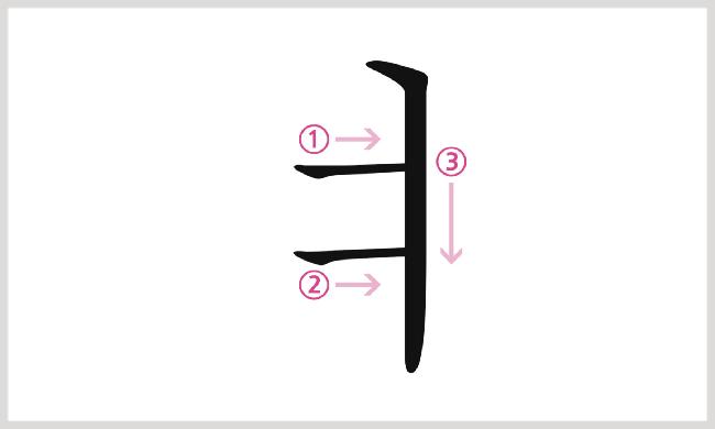 母音ㅕの書き順