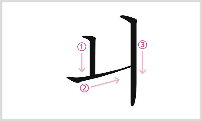 母音ㅚの書き順