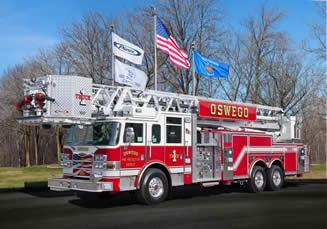 Oswego FPD Pierce Arrow XT 100' aluminum tower ladder