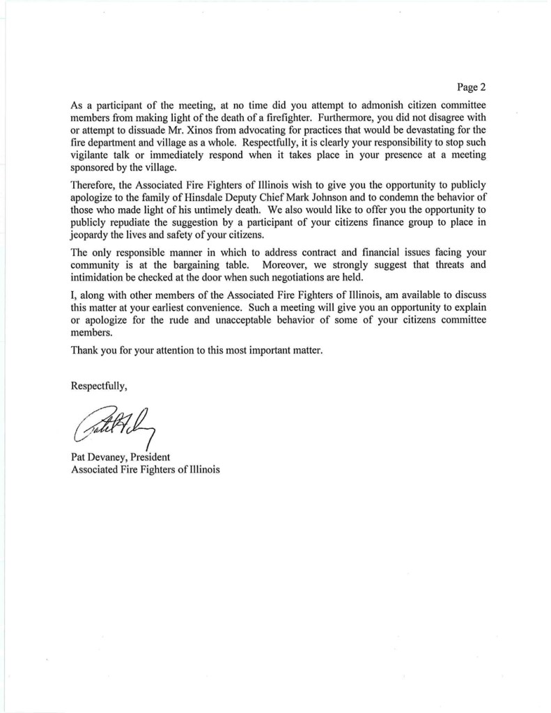 Oak Brook Fire Department union letter to the village manager