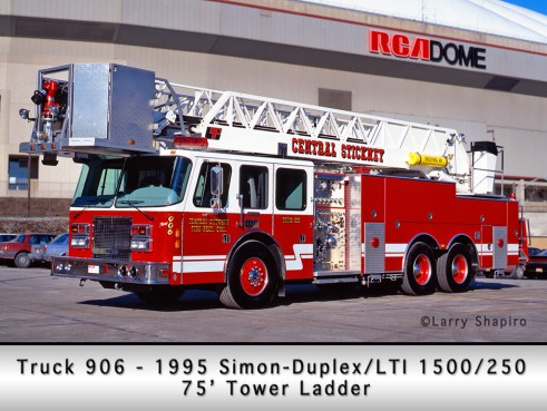 Central Stickney Fire Protection District Simon-Duplex LTI 75' tower ladder