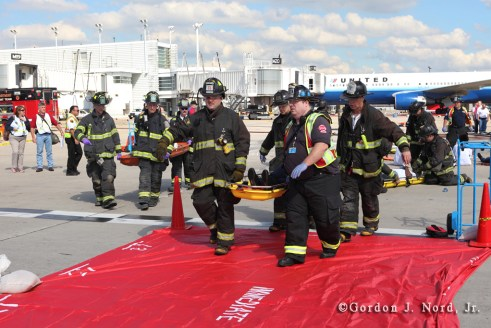 Chicago Fire Department disaster drill at O'Hare Airport