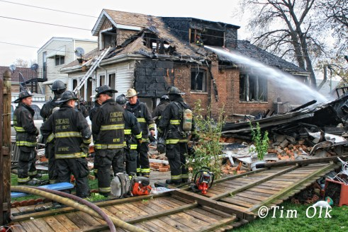 Chicago Fire Department house explosion and fire 6600 block of Keating 11-13-11