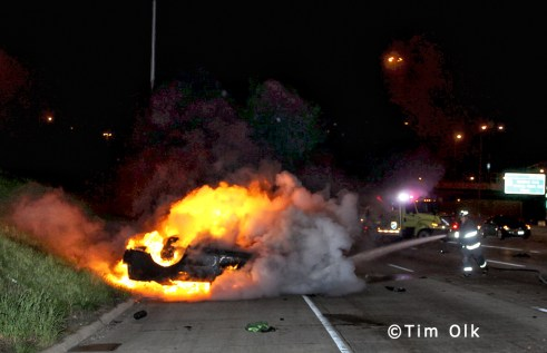 Two car accident and fire I94 Edens at the Kennedy 4-8-12
