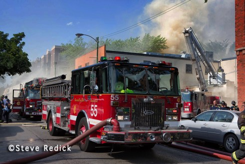 Chicago 3-11 Alarm fire 5-29-12 on Sheffield Avenue Chicago Engine 55