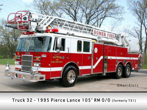 Homer Township FPD Truck 32 1995 Pierce Lance 105' aerial