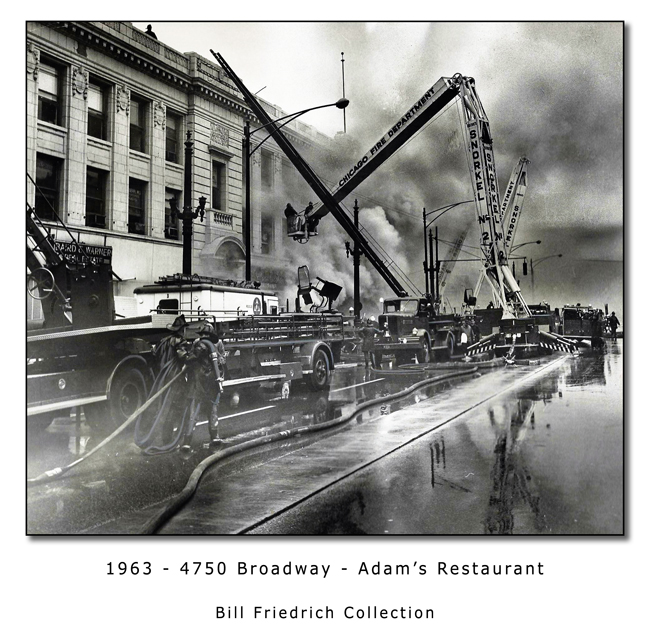 Historic fire photo of the Chicago Fire Department at 4750 Broadway in 1963 at Adam's restaurant