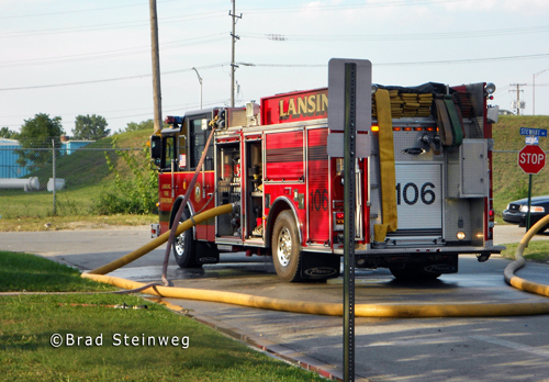 house fire in Calumet City - Lansing Fire Department engine