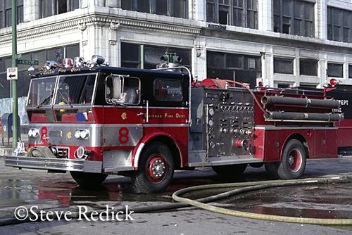 1970 Ward LaFrance Ambassador pumper assigned to Chicago Fire Department Engine 8
