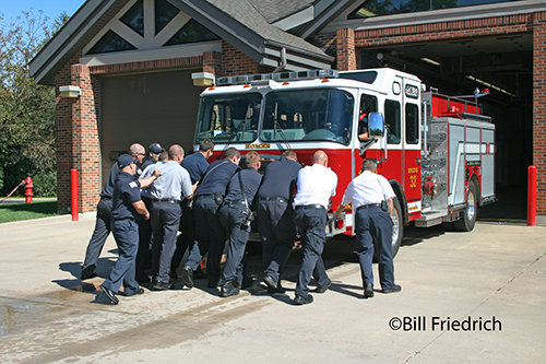 Fire Department wet down of new engine in Homer Township IL