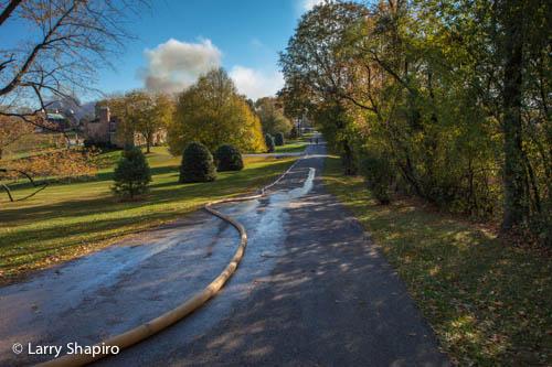 large barn fire in Barrington Hills IL 10-10-12 on Ridge Road large diameter hose