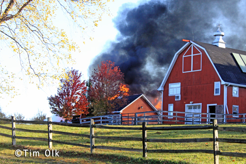 large fire in Barrington Hills 10-10-12 on Ridge Road