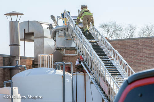 confined space rescue/recovery of worker overcome by toxic fumes in metal storage tank in Wheeling IL