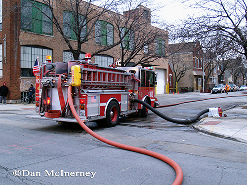 Chicago fire engine pumping at a fire scene