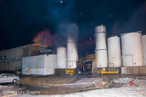 large chemical storage tanks at industrial fire scene
