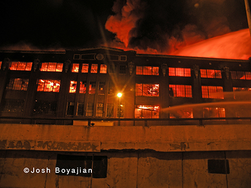 big fire at night in Chicago