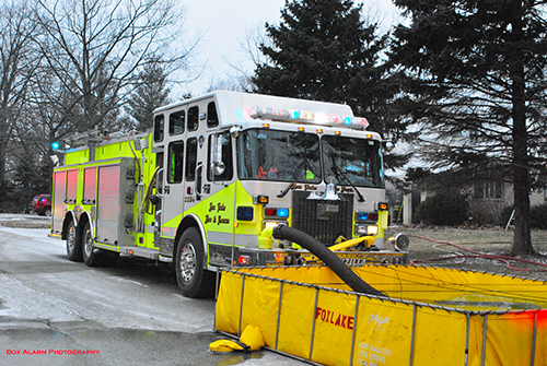 Fox Lake fire department engine at fire scene