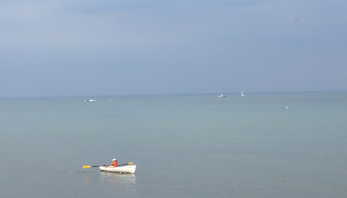 Chicago lifeguard in row boat