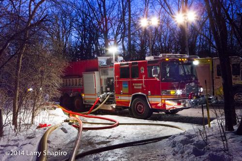 Pierce Quantum fire engine at night fire scene