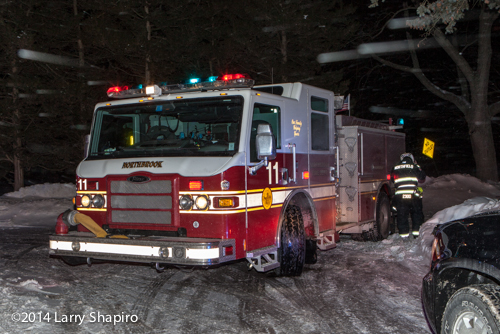Pierce Impel fire engine at night in the snow