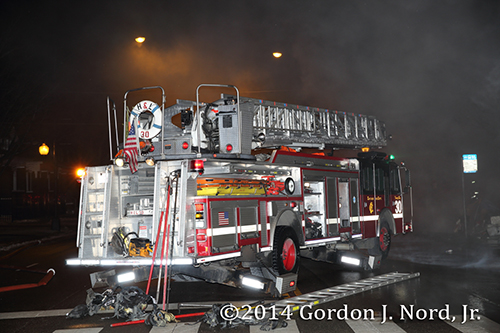 E-ONE ladder truck at night fire scene in Chicago
