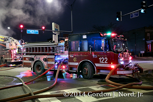 Chicago FD Engine 122 working at fire scene Spartan