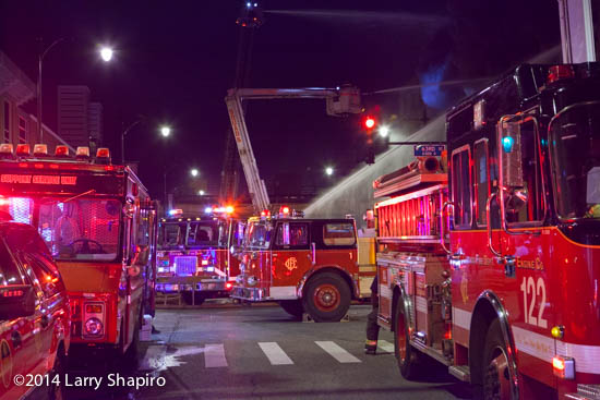 Chicago fire trucks at night fire scene