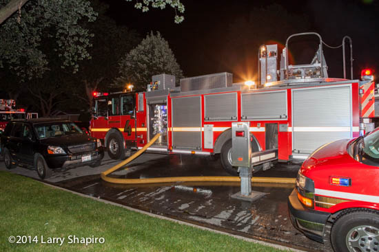 Smeal quint at night fire scene