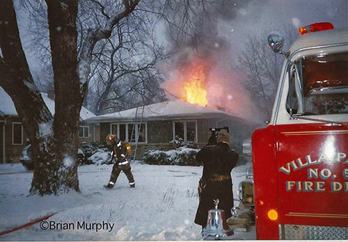 winter fire scene circa 1990