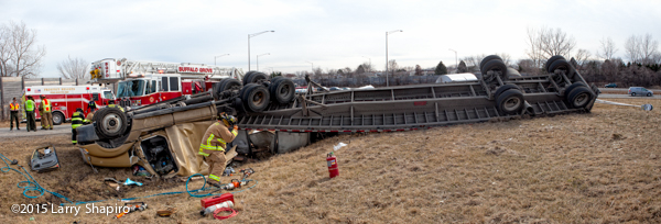 tractor-trailer flipped over