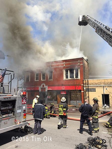 Chicago firemen at fire scene